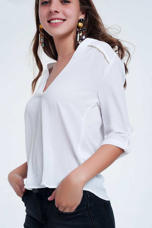Blouse With Embellished Detail in White
