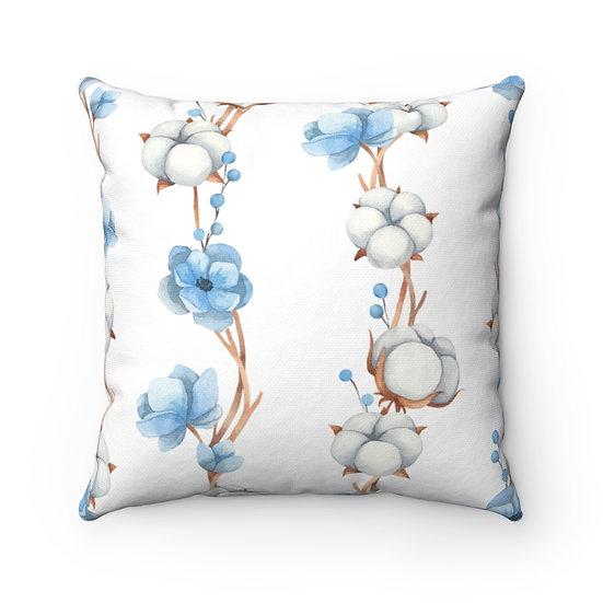 Blue Anemone/Cotton Spun Polyester Square Pillow