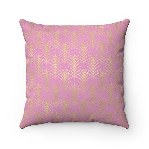 Gold Art Deco Wheat/Kobi Faux Suede Square Pillow
