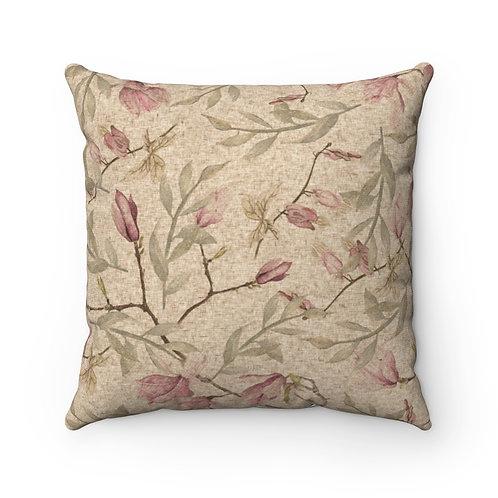 Ginkgo Pink Spun Polyester Square Pillow