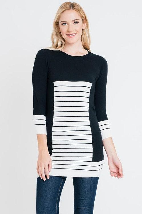 Striped Print Long Sleeve Tunic Top