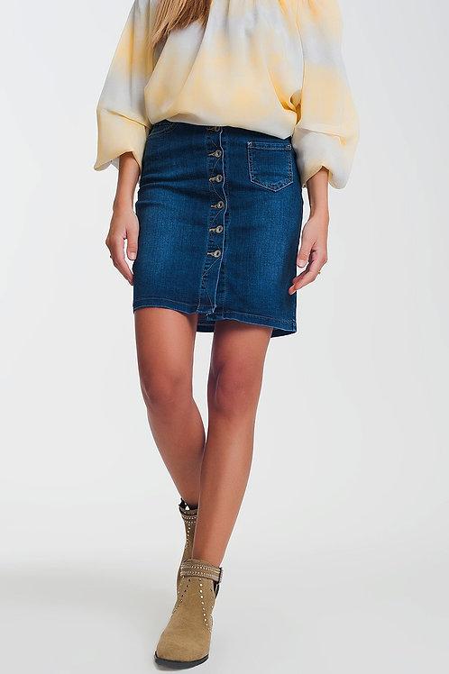 Button Through Dark Denim Skirt