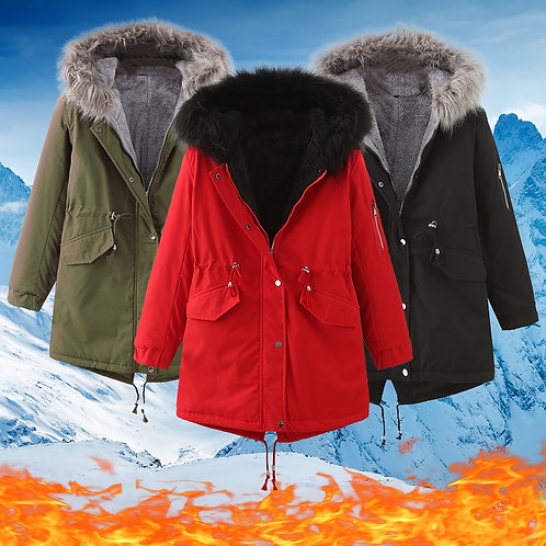 Womens Retro Solid Jacket Casual Coat Women's Winter Long Thickening