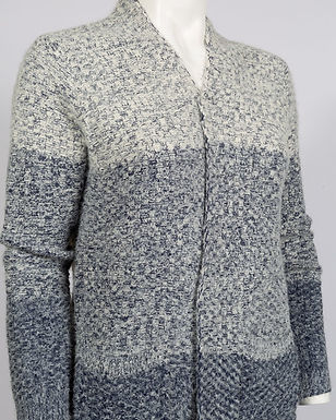 A cozy, warm long knit cardigan sweater with sky blue gradient detail.