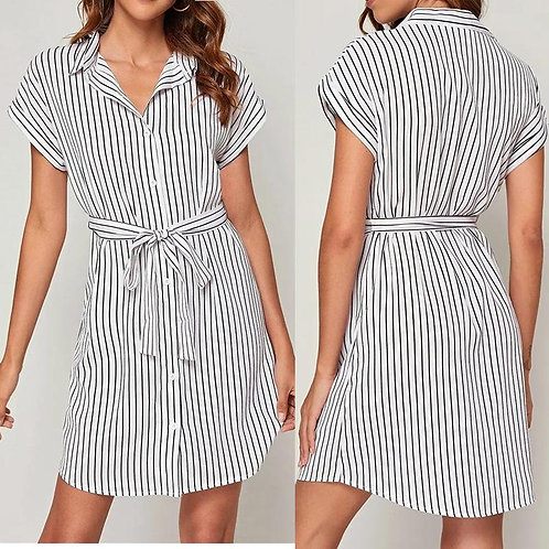 striped causal shirt dress