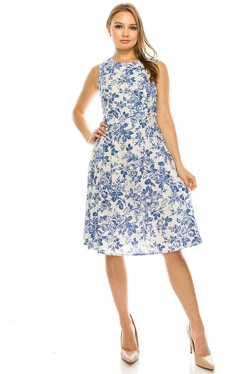 Liz Claiborne White and Blue Floral Sleeveless Pleated Dress