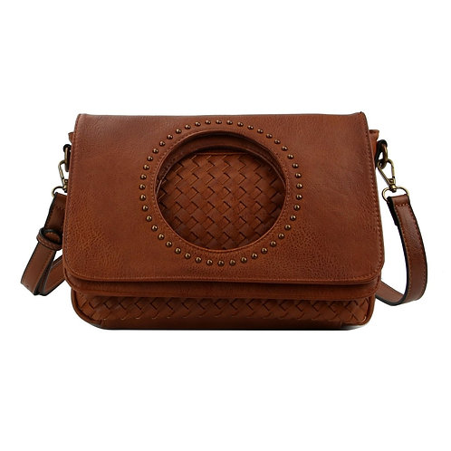 Brown Leather Woven Flap Crossbody