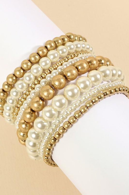 Pearl Metal Beads Layered Stretch Bracelet