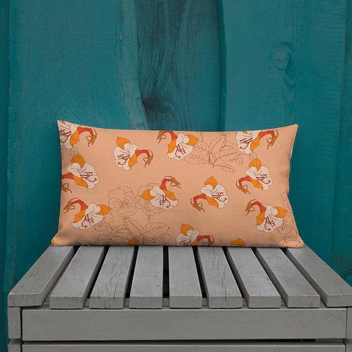 Burnt Orange Iris Premium Pillows