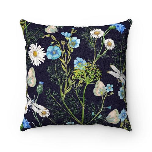 Botanica on Black Faux Suede Square Pillow