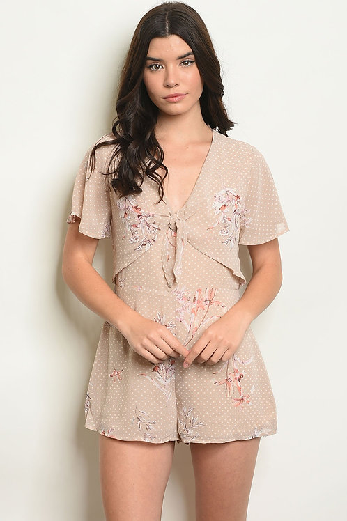 Beige With Dots Floral Romper