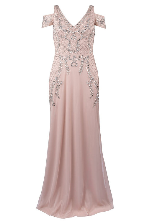 Adrianna Papell Sequin Cold Shoulder Gown (Petite)