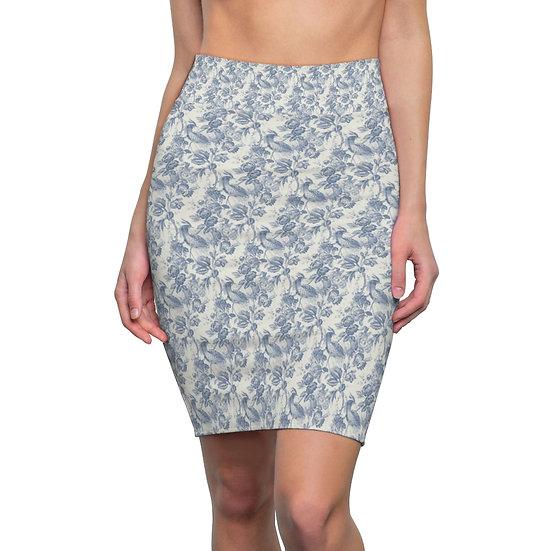 Miniature Blue Floral Women's Pencil Skirt