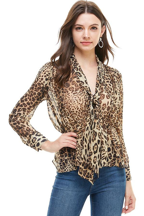 Animal Print Pleated Puff Sleeve Neck Tie Blouse
