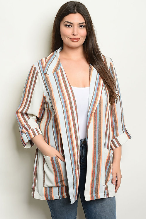 Cream Multi Stripes Plus Size Blazer