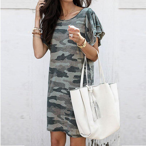 Casual Camouflage Print Short Sleeve Dress