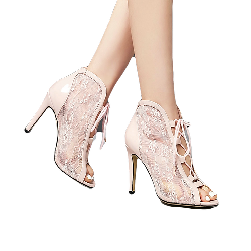 Patent Leather Peep Toe Front Lace up Booties