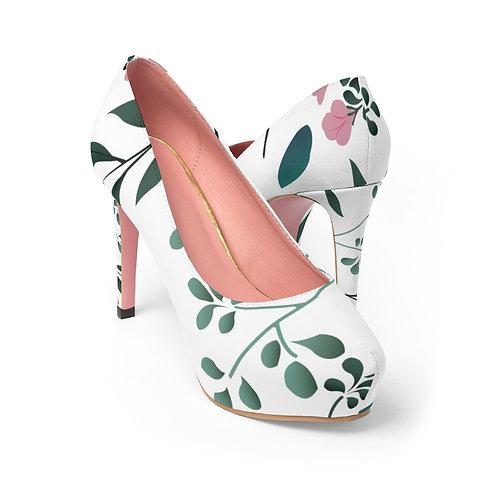 Blossom and Green Sprigs Women's Platform Heels