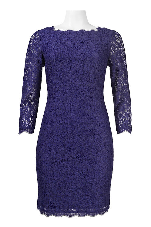 Adrianna Papell Long Sleeve Back Zipper Lace Sheath Dress