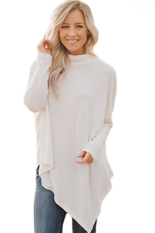 Asymmetrical Hem White Soft Faux Poncho High Neck Sweater