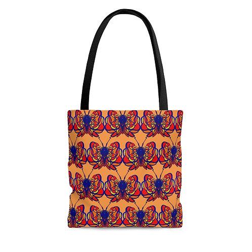 Butterfly (tiled) Orange Tote Bag