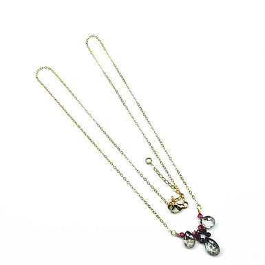 14 Kt Gold Filled Fuchsia Rainbow Quartz Drop Gemstone Necklace