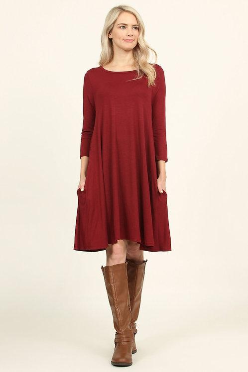 3/4 Sleeve Solid Pocket Dress