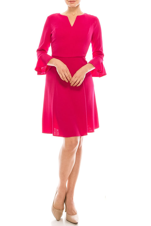 London Times Hot Magenta A-Line Dress with Bell Sleeves