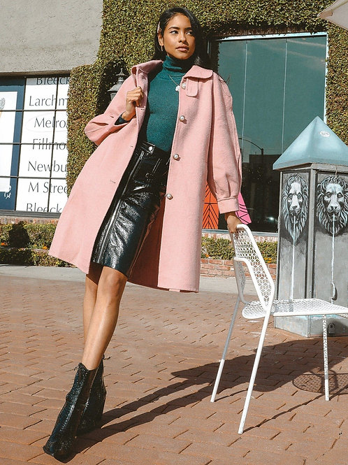 Audrey Balloon Sleeve Wool Coat