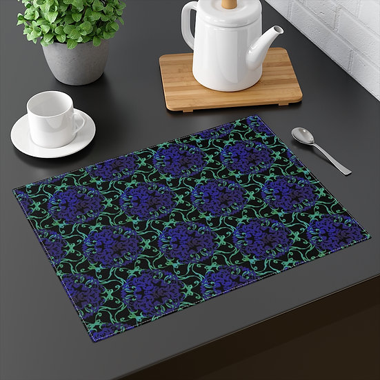 Blue Chrysanthemum Garden Placemat