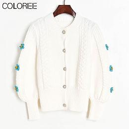 "Casual ""Diamonds"" Button flower applique Sweater"