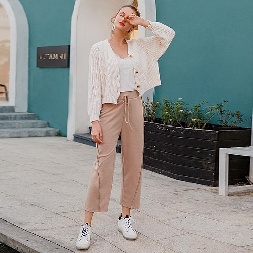 Middle waist casual women pants Autumn winter solid pink trousers Wide