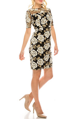 Adrianna Papell Day Ivory Gold Floral Embroidered Mesh Dress