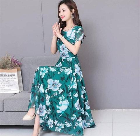 Teal Floral Printed Long Maxi Dress