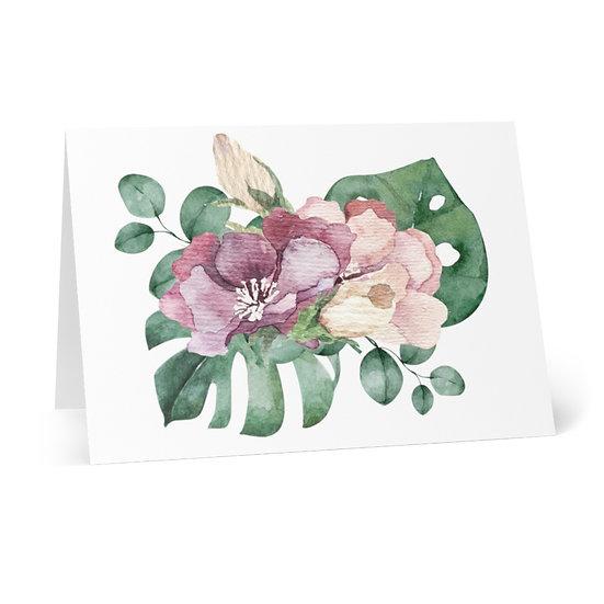 Blush Mauve Bouquet Greeting Cards (8 pcs)