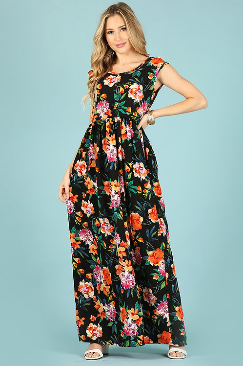 1102 maxi dress, loose fit, round neck, cap sleeves, pockets