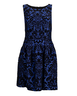 A sleek, elegant short sleeveless A-Line party dress with floral