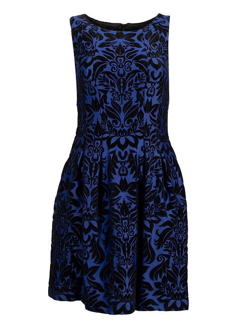 A sleek, elegant short sleeveless A-Line party dress with floral