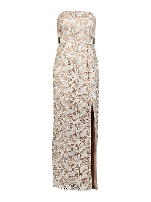 An elegant, intricate strap gownless column gown dress with