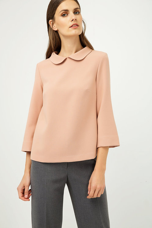 Bell Sleeve Peach Top with Peter Pan Collar