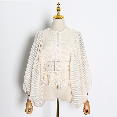 2020 Long Sleeve Belted Balloon Sleeves Blouse