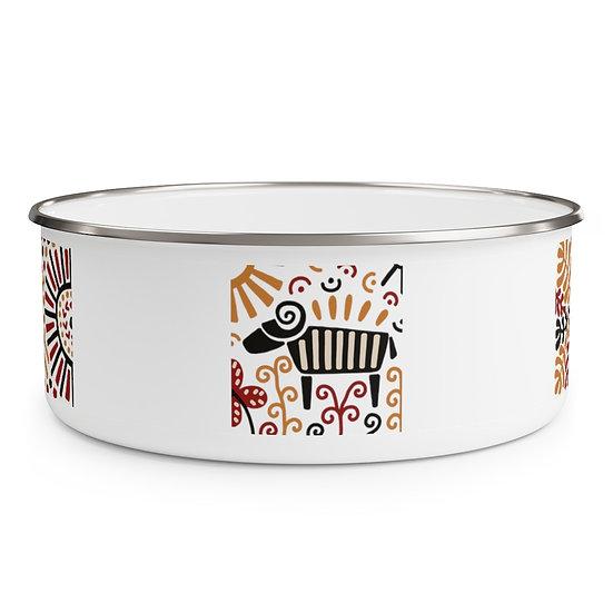 African Design #6 Enamel Bowl