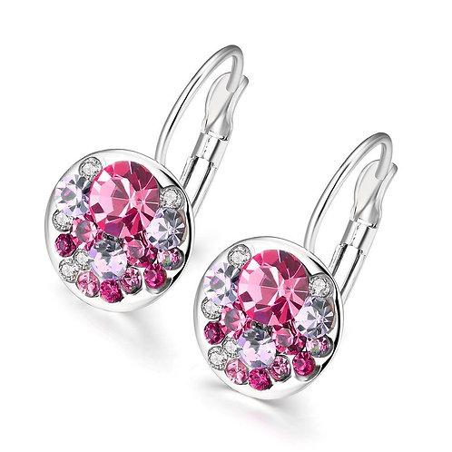 Pink Periwrinkle Swarovski Leverback Earrings 18K White Gold
