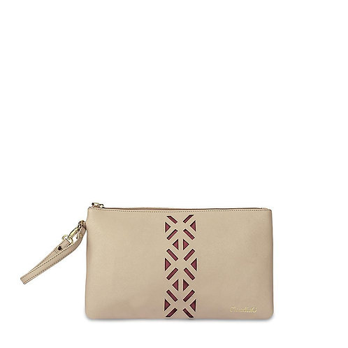 Leather PractiPouch Large- Tan/Red