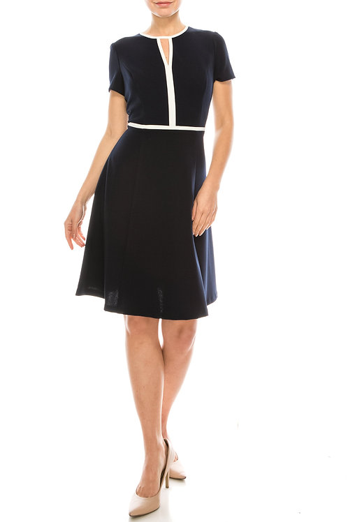 London Times Twilight Navy Ivory Scuba Crepe A-Line Dress with Ivory