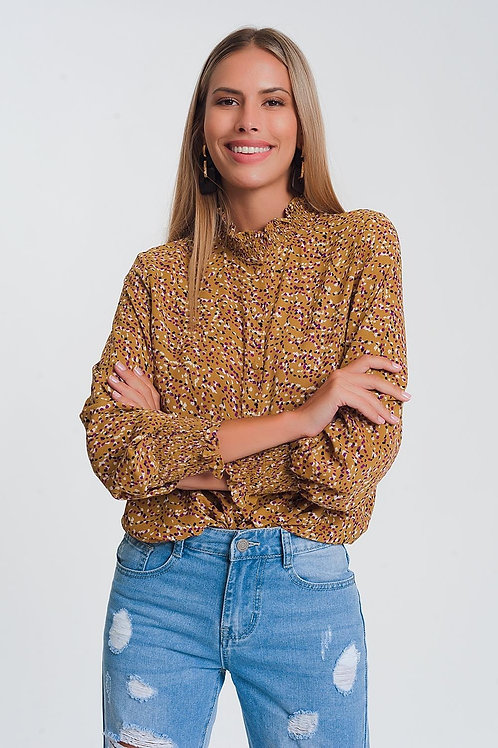High Neck Top With Volume Long Sleeve in Mustard Geo Print