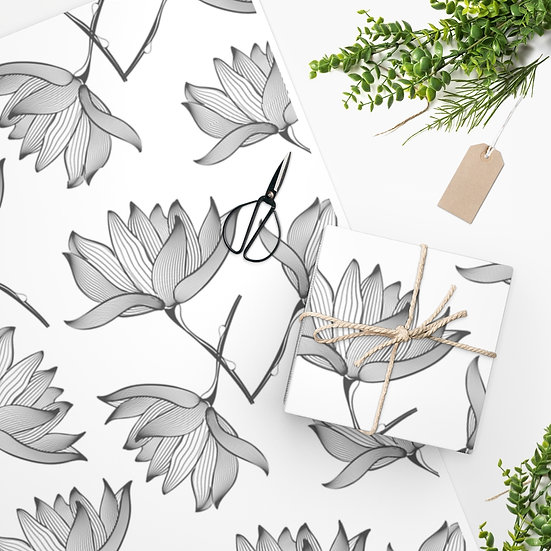 Lotus Pencil Drawing Wrapping Paper