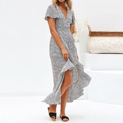 2020 Summer Dot Print Maxi Dresses Boho Style Split Long Beach Dress