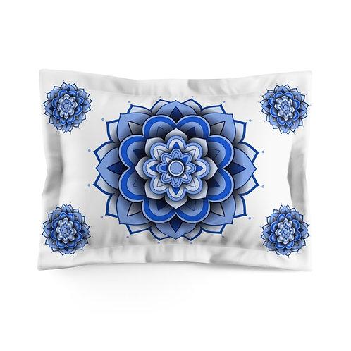 3D Blue Mandala Microfiber Pillow Sham