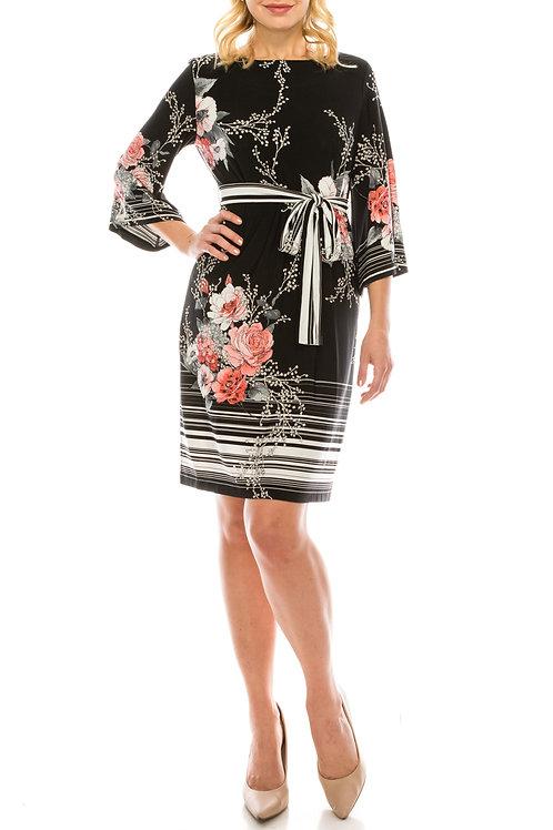 Sandra Darren Black Salmon Textured Floral Printed Sheath Dress